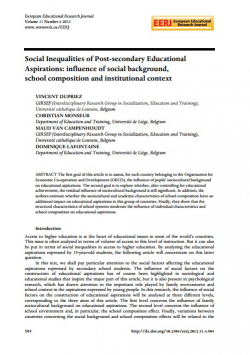 Social Inequalities of Post-Secondary Educational Aspirations: Influence of Social Background, School Composition and Institutional Context