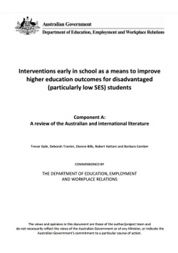 Interventions early in school as a means to improve higher education outcomes for disadvantaged (particularly low SES) students.