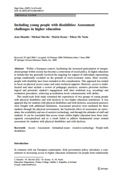 Including young people with disabilities: Assessment challenges in higher education