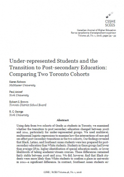 Under-represented Students and the Transition to Post-secondary Education: Comparing Two Toronto Cohorts